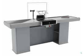 X5 Pokladní boxy bez posuvného pásu s jednoduchým skluzem, univerzální: levý - pravý  (bez bočního stolku)